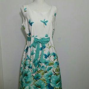 Sundress floral white teal blue floral